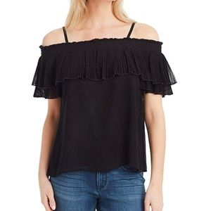 Jessica Simpson Blouse Black Crinkle Ruffle Black